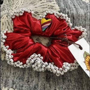 Scrunchy,  Ladies Hair Scrunchy,  Red Beaded